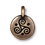 TierraCast Triple Spiral Charm, Brass Ox